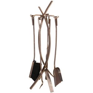 Set vatrai semineu Wave - fier forjat, auriu patinat, 4 accesorii